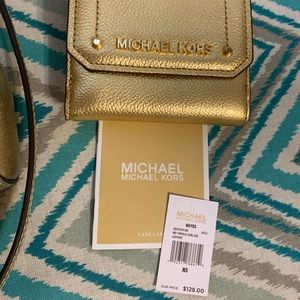 Michael Kors Hayes Trifold CoinCase Leather (Gold)